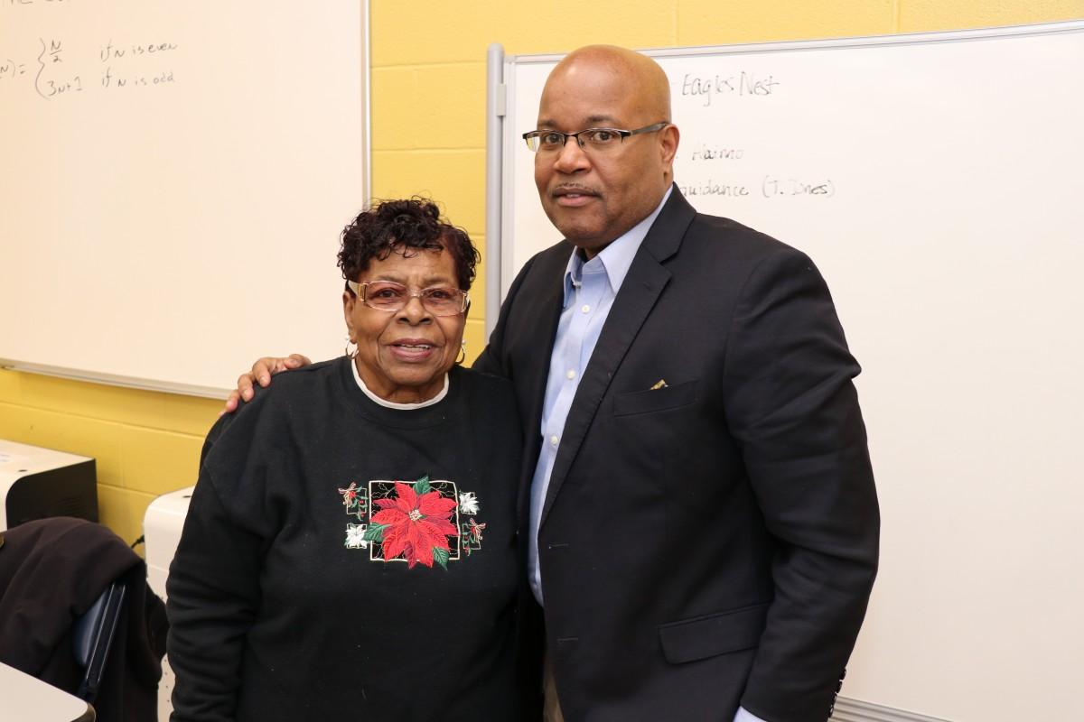 Board of Education member Mr. Philip Howard, and Newburgh Teacher Retiree chapter representative Ms. Ida Jones pose for a photo.