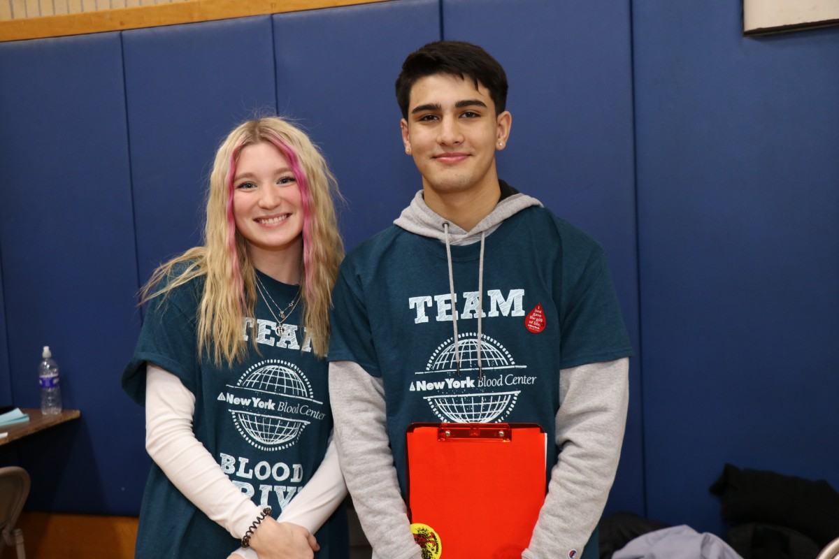 NFA Blood Drive Captains Hannah Deaton and Luke Fischer pose for a photo.