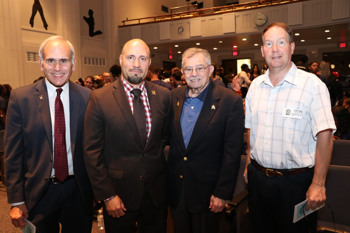 Dr. Padilla stands with Assemblyman Jonathan Jacobson, Mr. Bill Kaplan and Mr. Russ Vernon from the Newburgh Armory Unity Center.