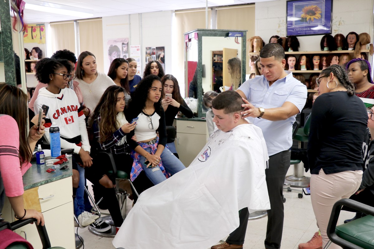 Thumbnail for Celebrity Barber demonstrates cut for NFA Main Cosmetology