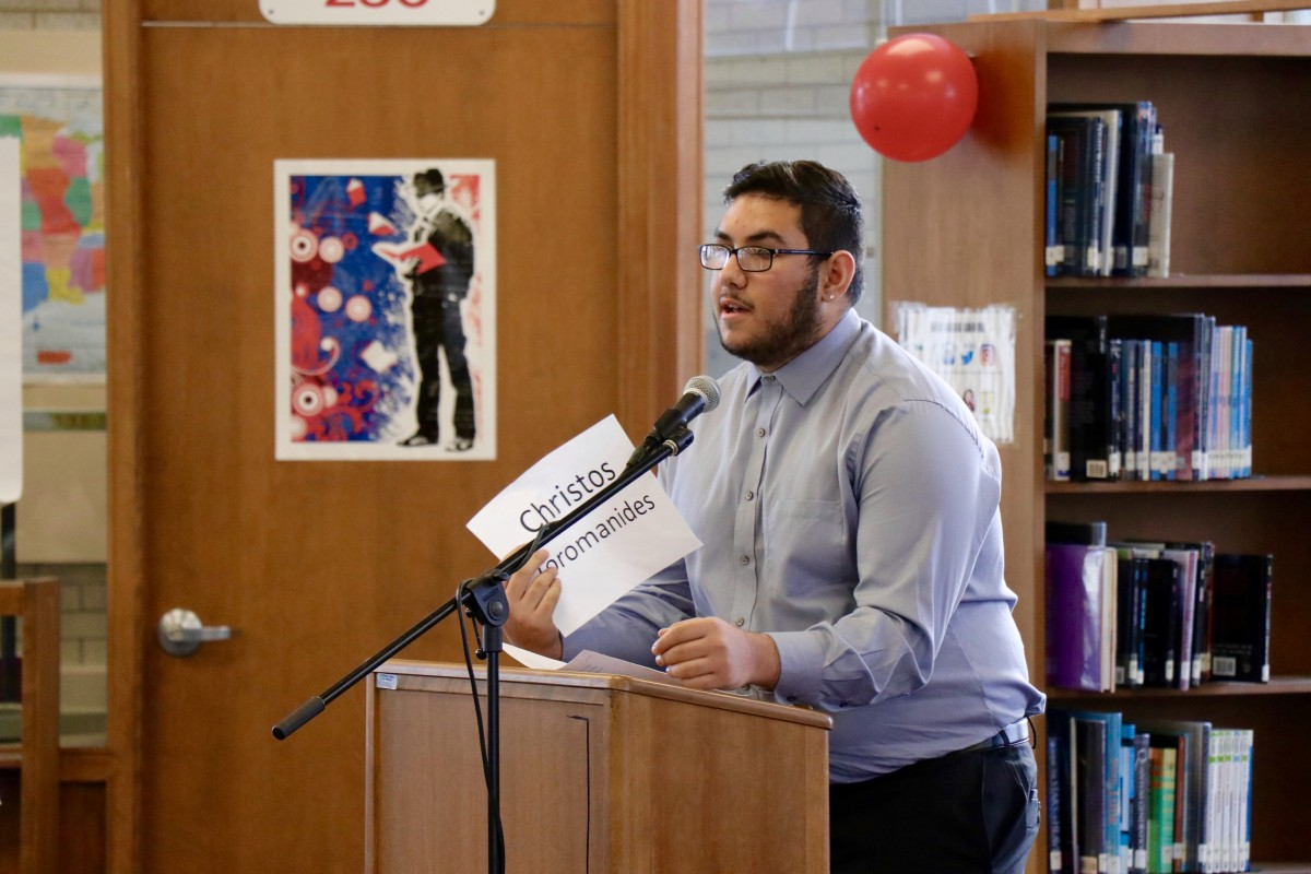 Cristos, a senior gives his speech during his mock campaign