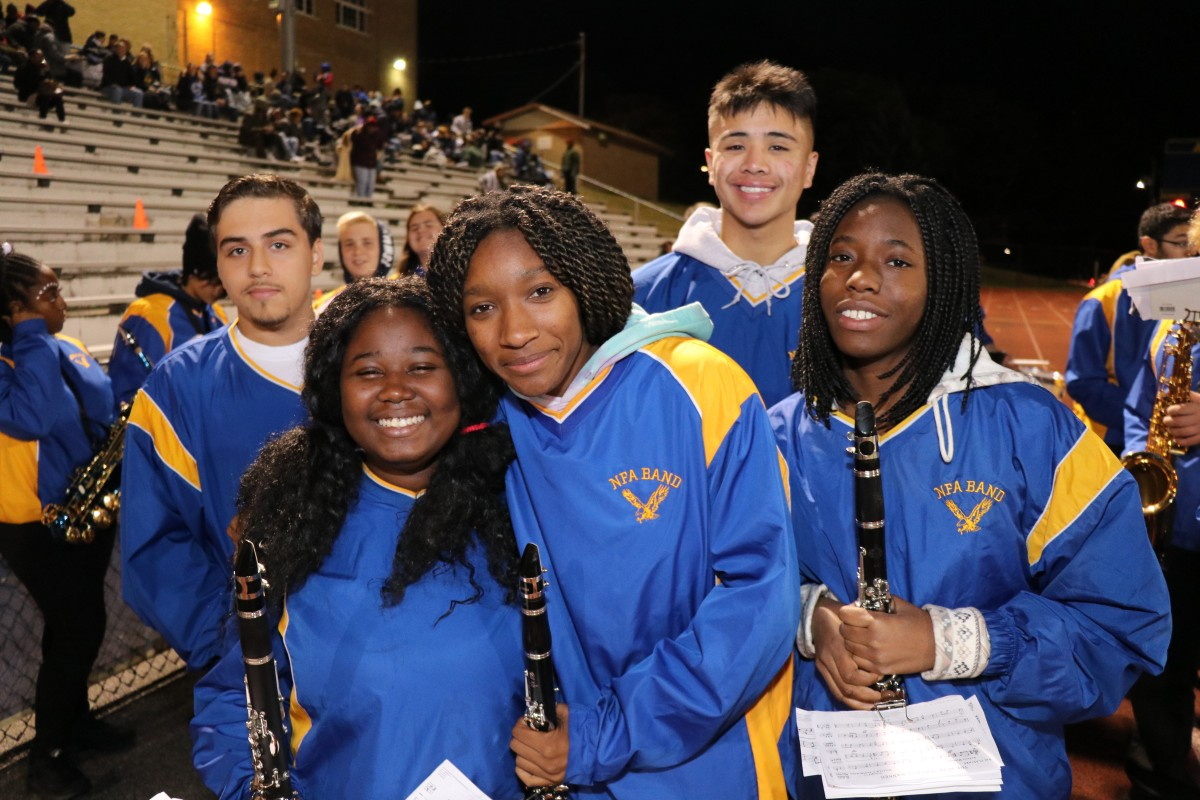 Members of the NFA Marching Band pose for a photo.