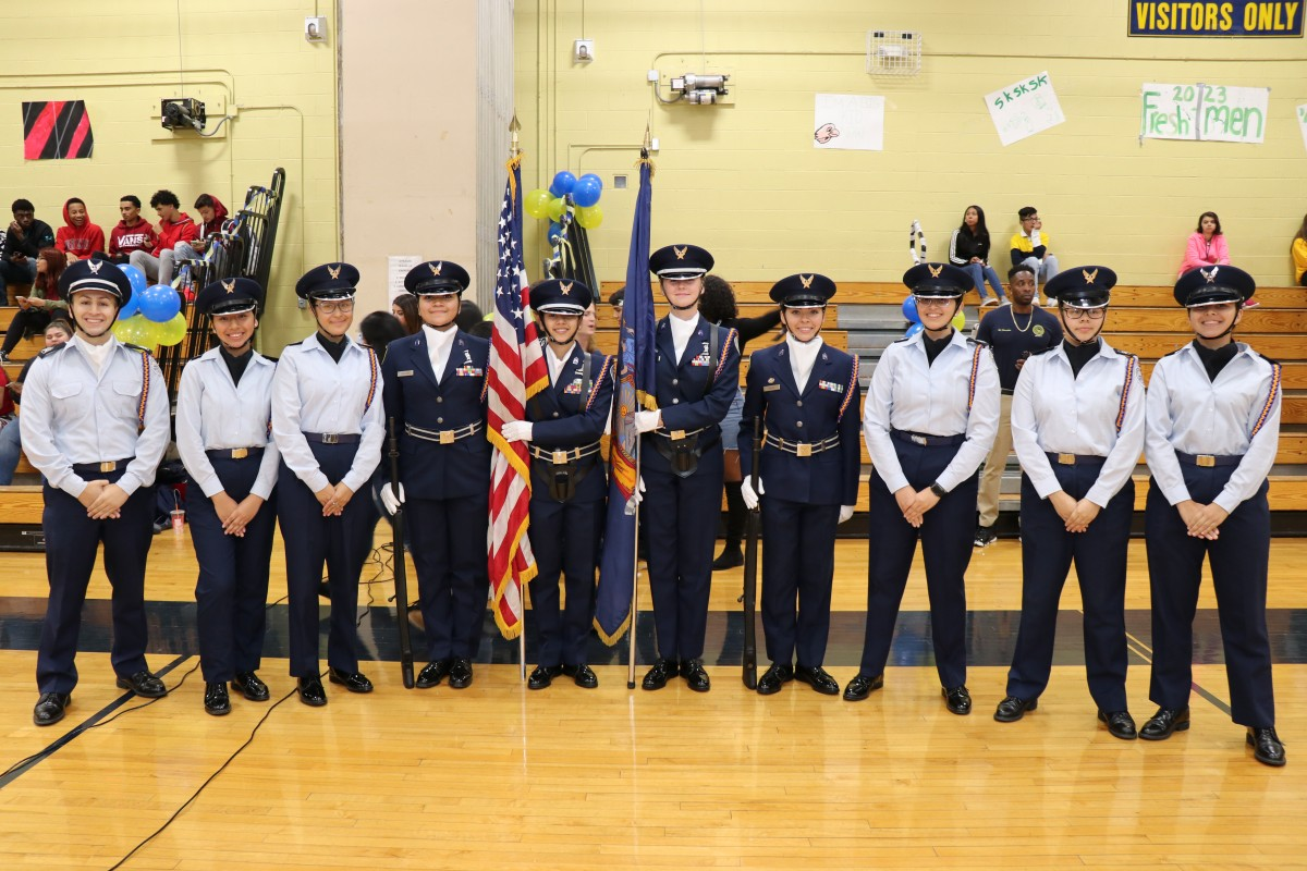 ROTC pose for a photo.