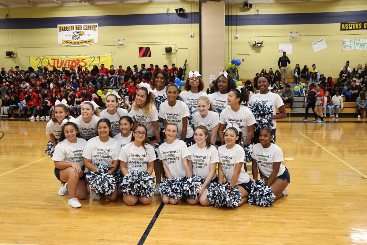 NFA Cheerleading team poses for a photo.