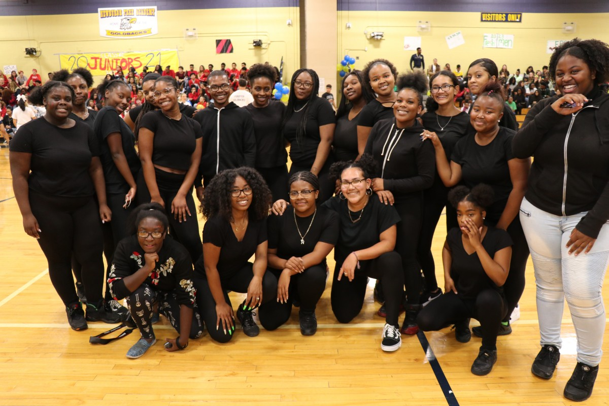 NFA Hip Hop and Step team  pose for a photo.