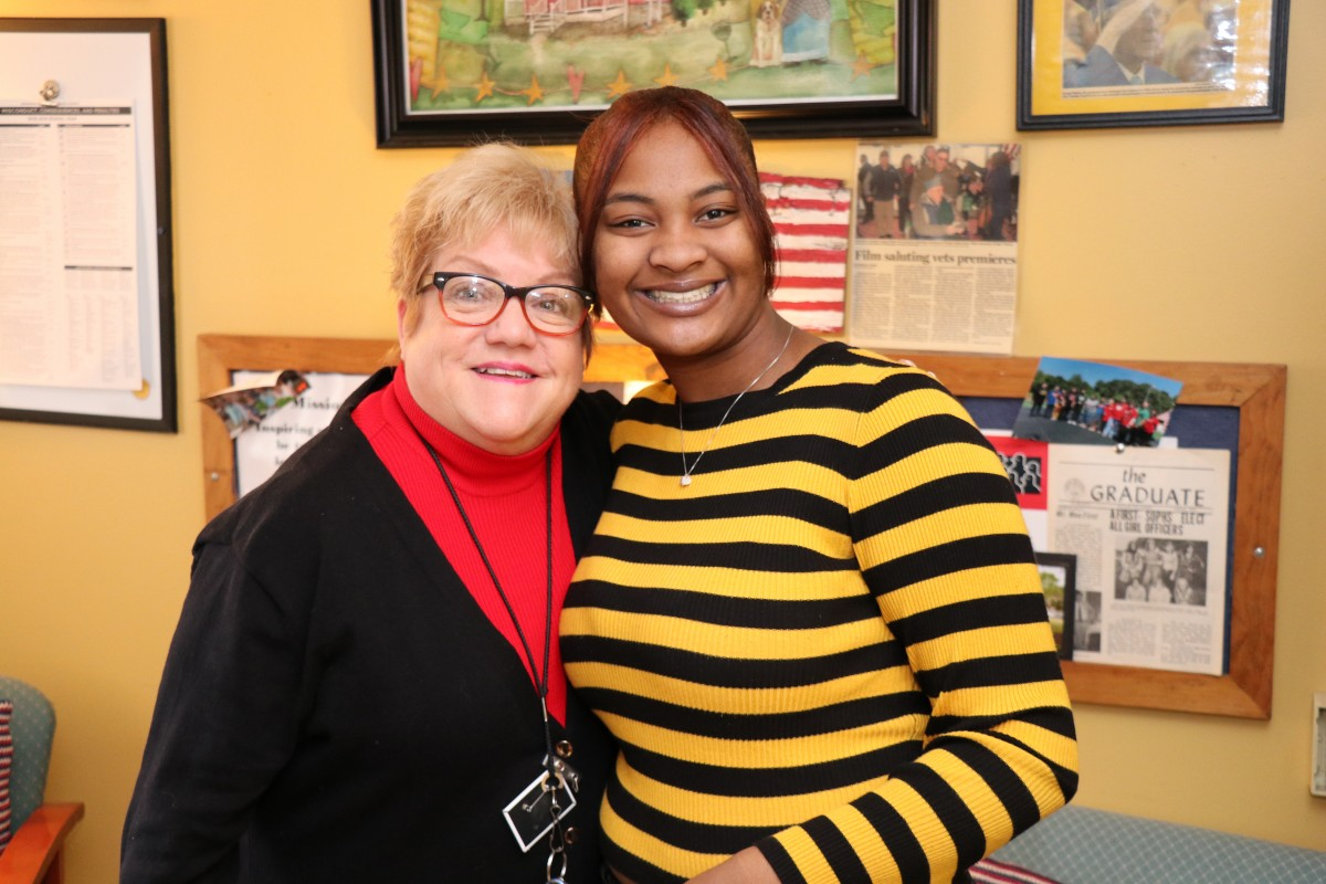 NFA Main Senior Kahnia Cousar poses for a photo with assistant principal, Ms. Margaret Chesser.
