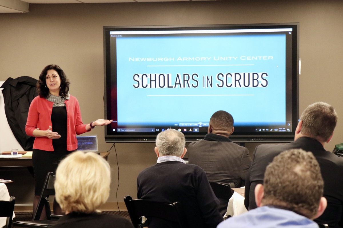 Mrs. Romano discusses Scholars in Scrubs program
