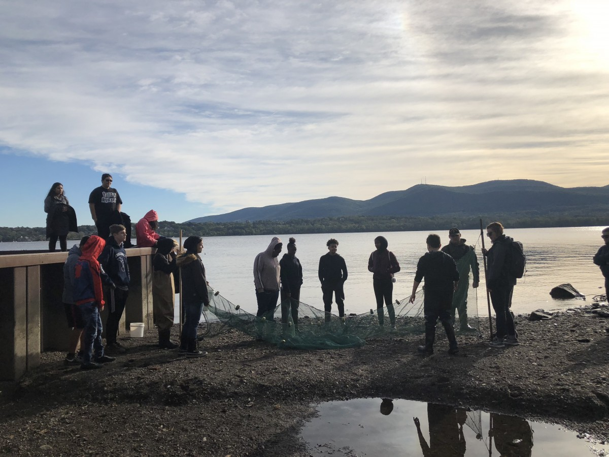 Students working with nets to collect fish for research