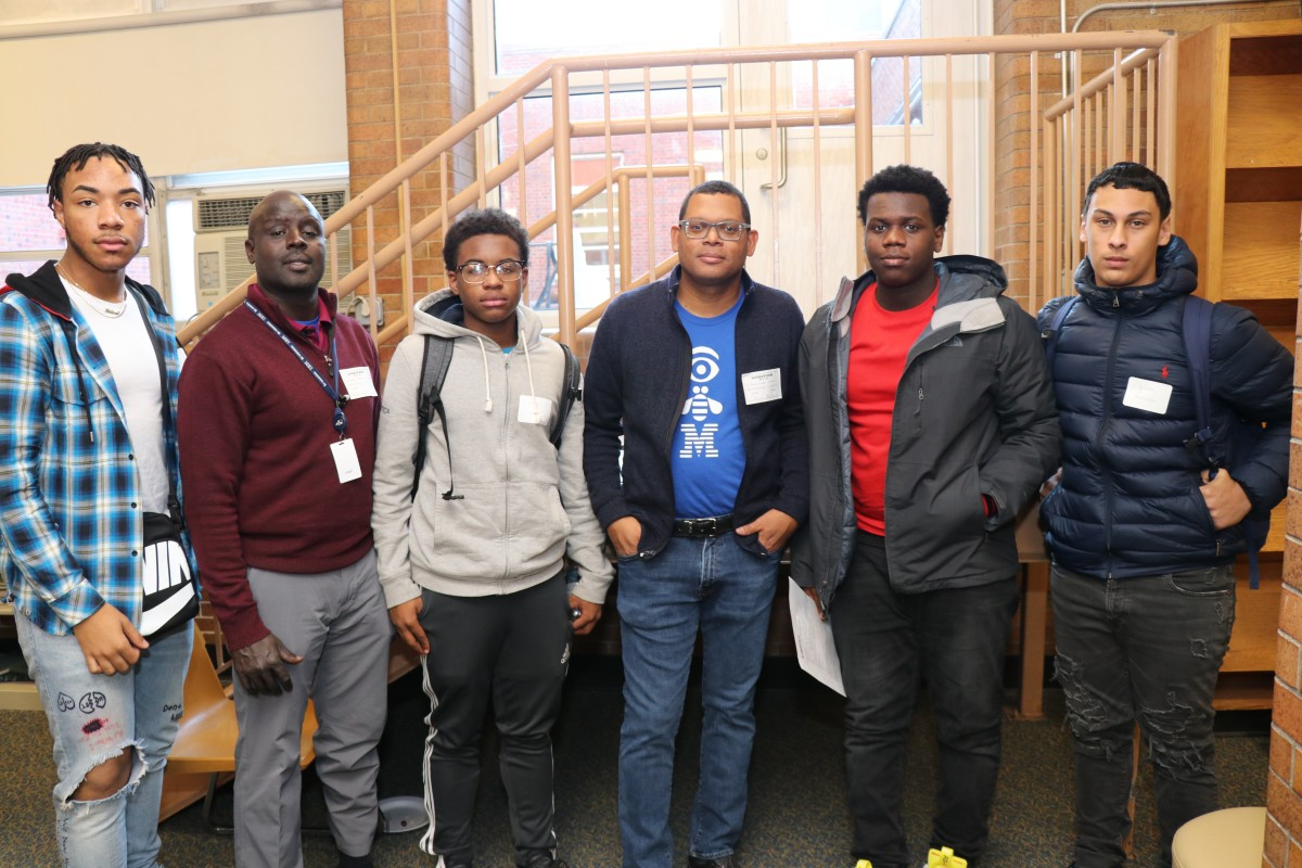NFA P-TECH scholars pose for a photo with their IBM mentor.