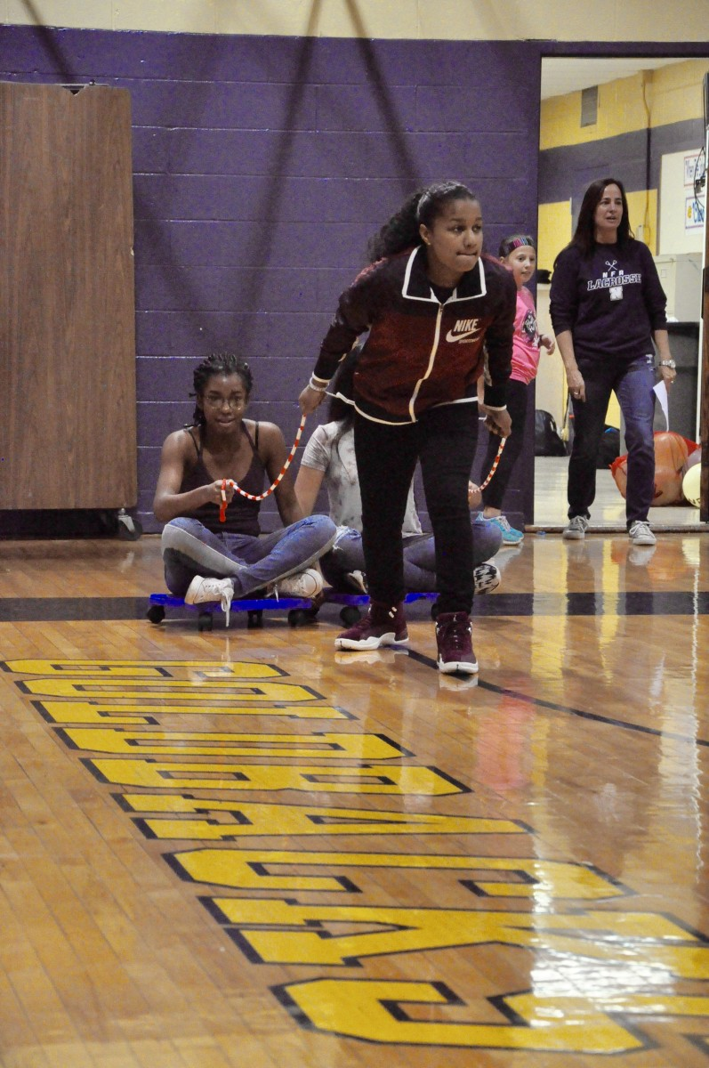 Students compete in various games to earn spirit points