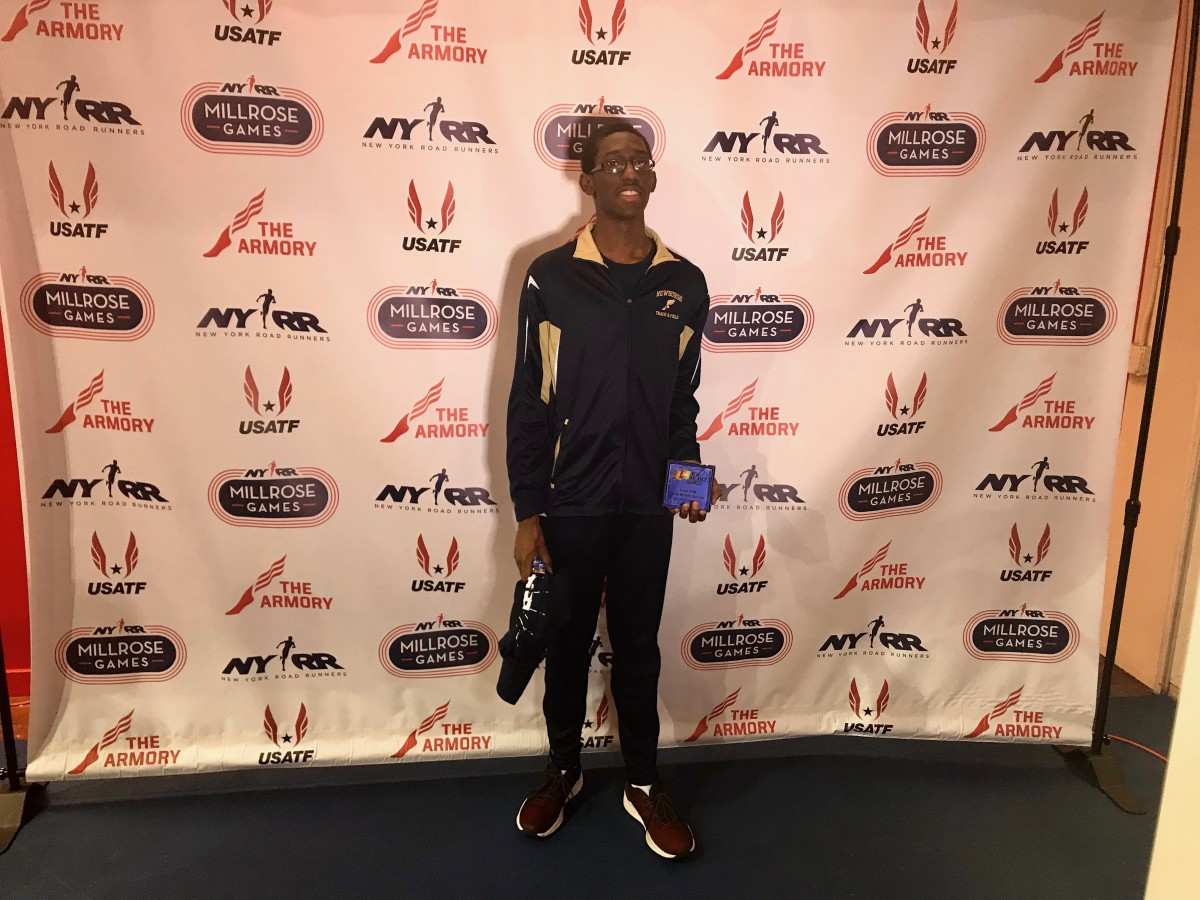 Xaiver wins the boys Middle School 55m dash (7.34) at The New Balance Invitational held at the New York Armory.
