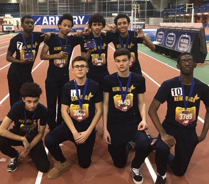 Newburgh's 4X400m relays finished in 1st and 2nd place at the New Balance Invitational held at the New York Armory. The