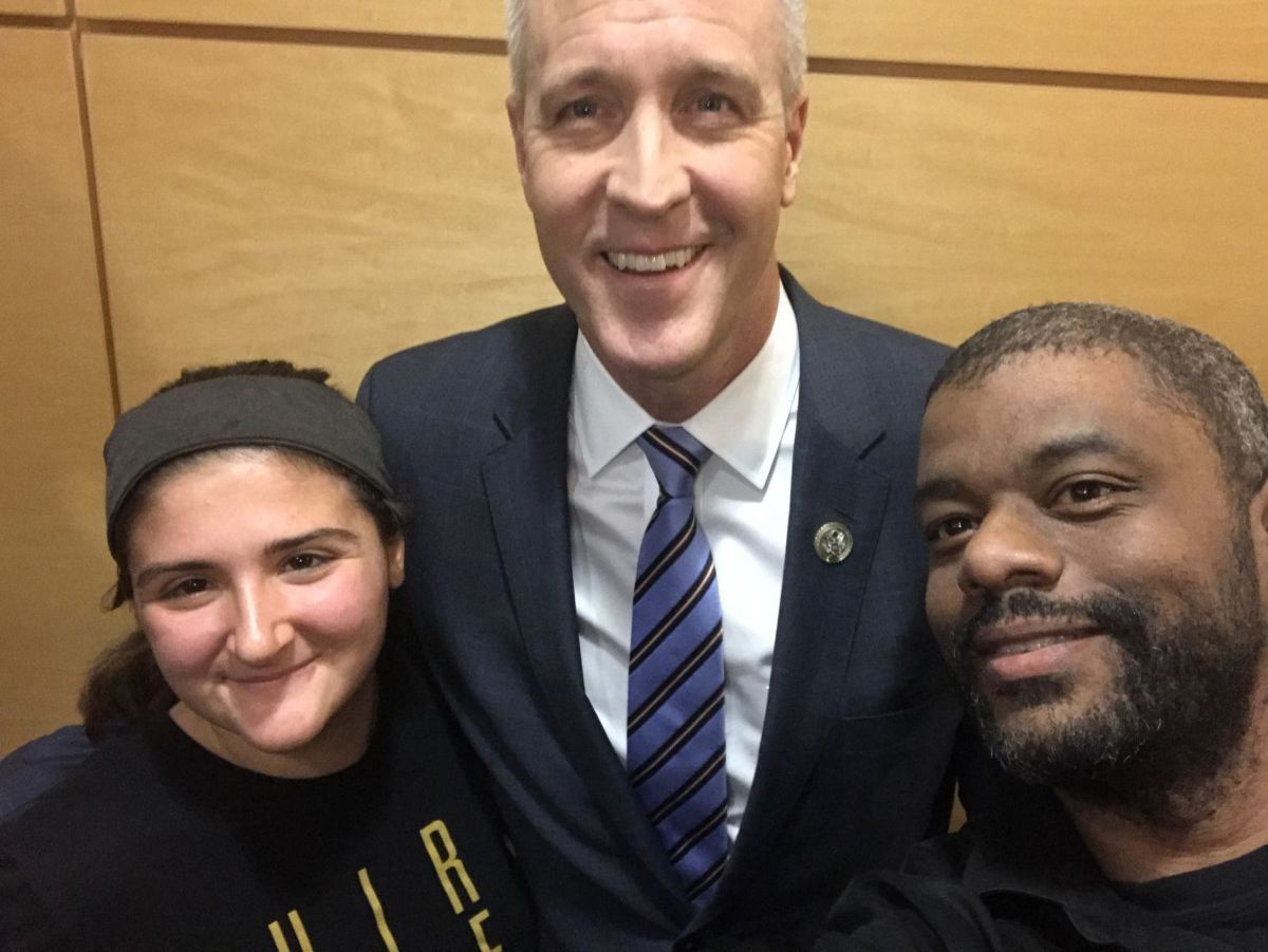 Alaina, teacher Mr. Guy Du Quesnay, and candidate Sean Patrick Maloney