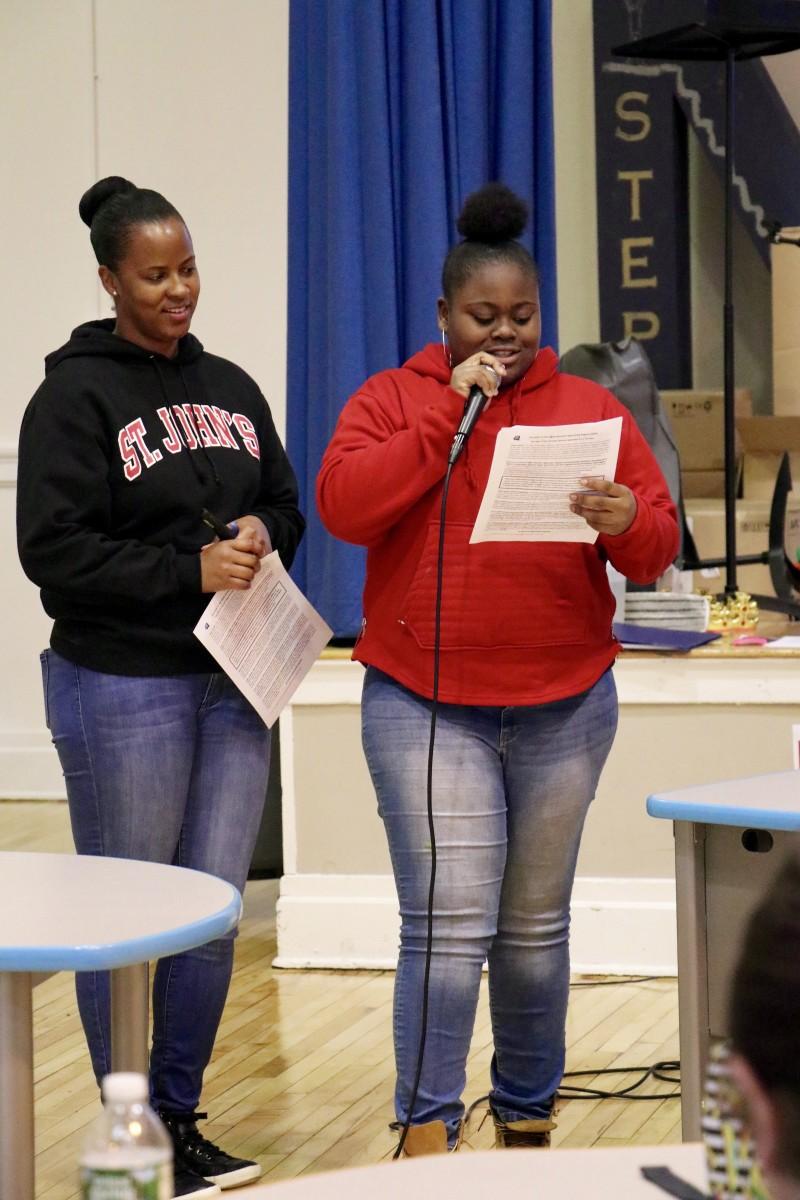 Student, Aniah presents panelists