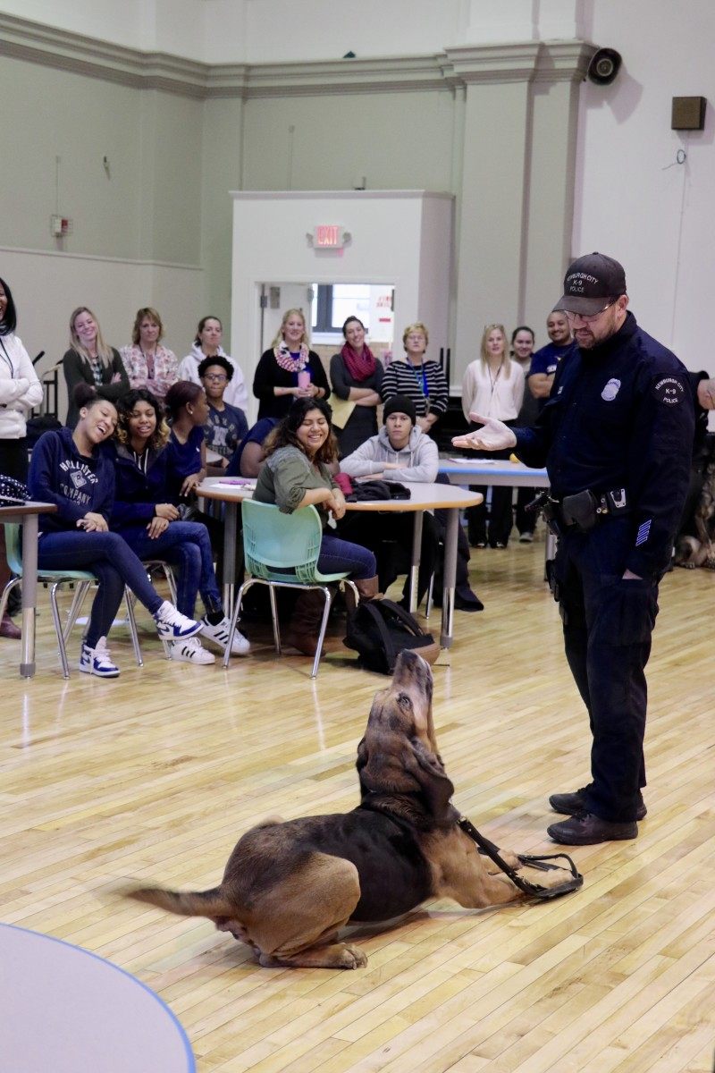 Officer works with K9