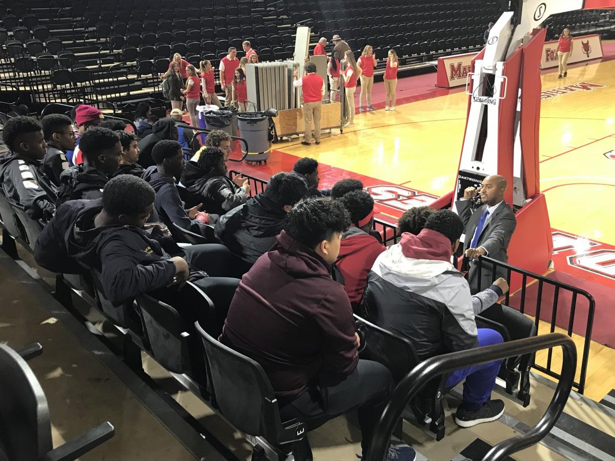 Students listen to speaker