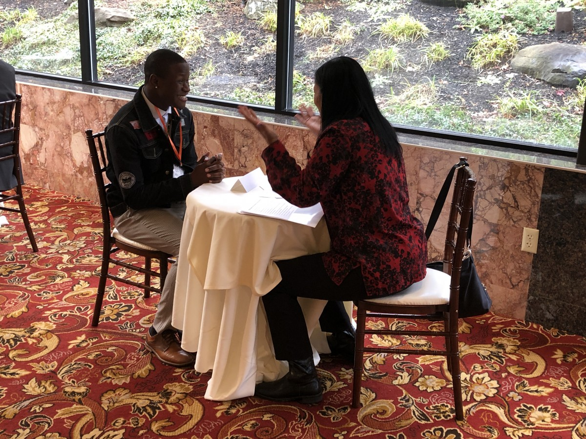 Student participating in a mock interview.