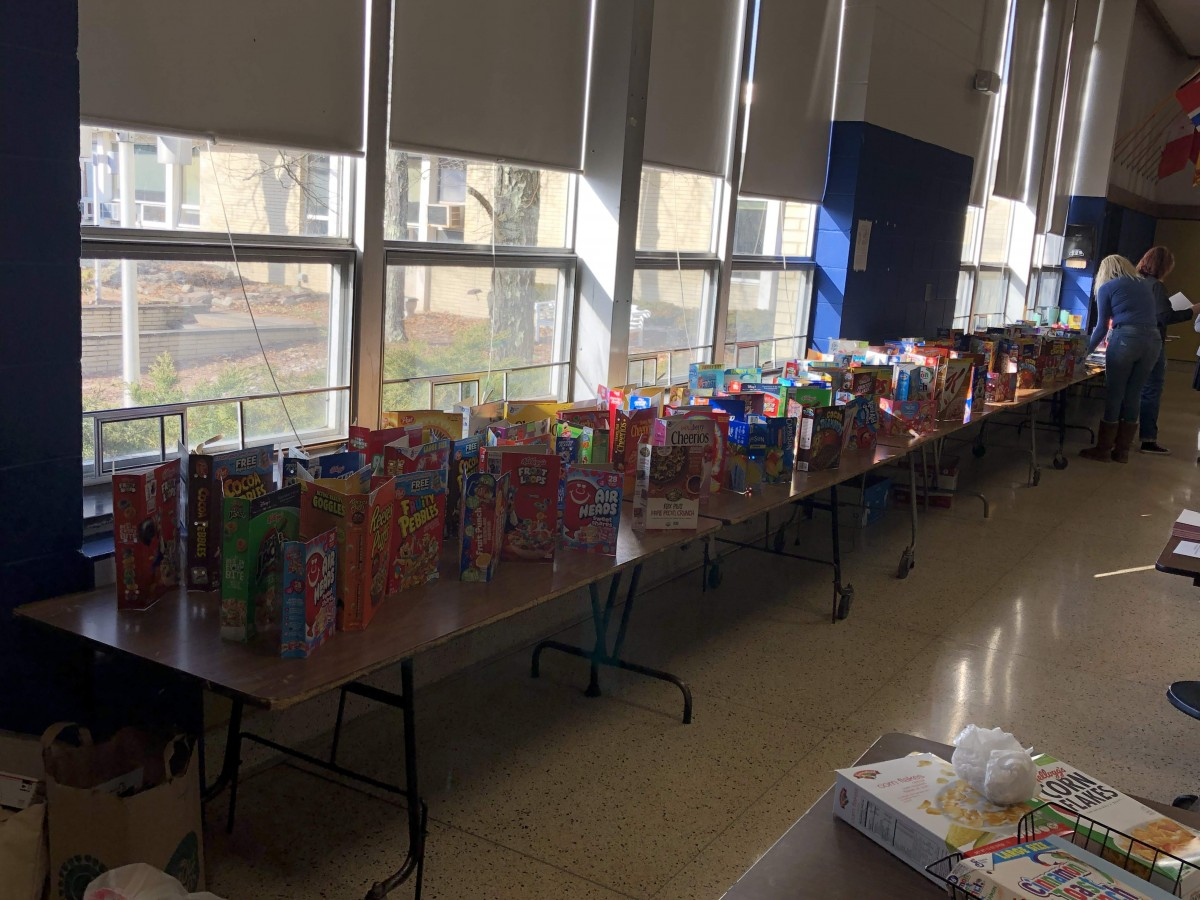 Photo of student journals made out of cereal boxes.