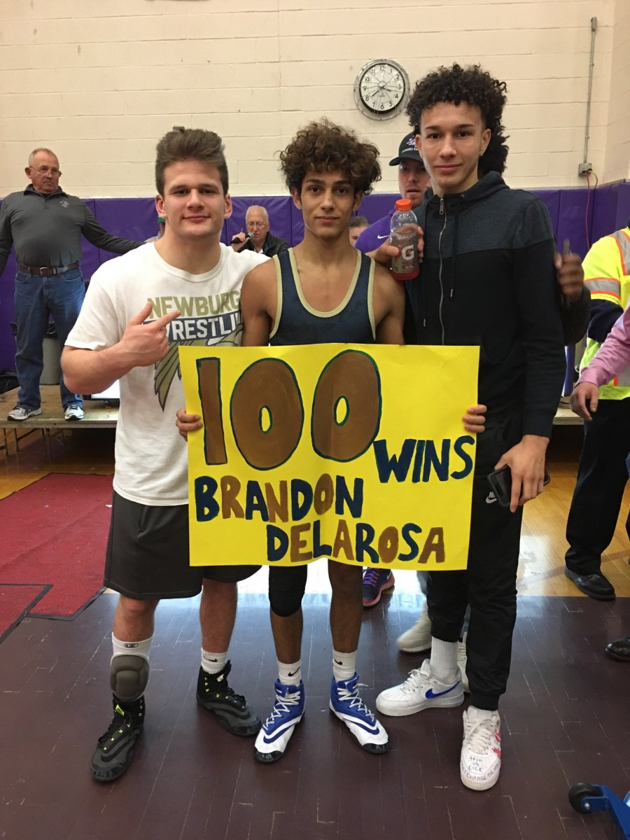 Congrats to Newburgh Wrestler Brandon DeLaRosa on earning his 100th win at today's Section 9 Wrestling Tournament!