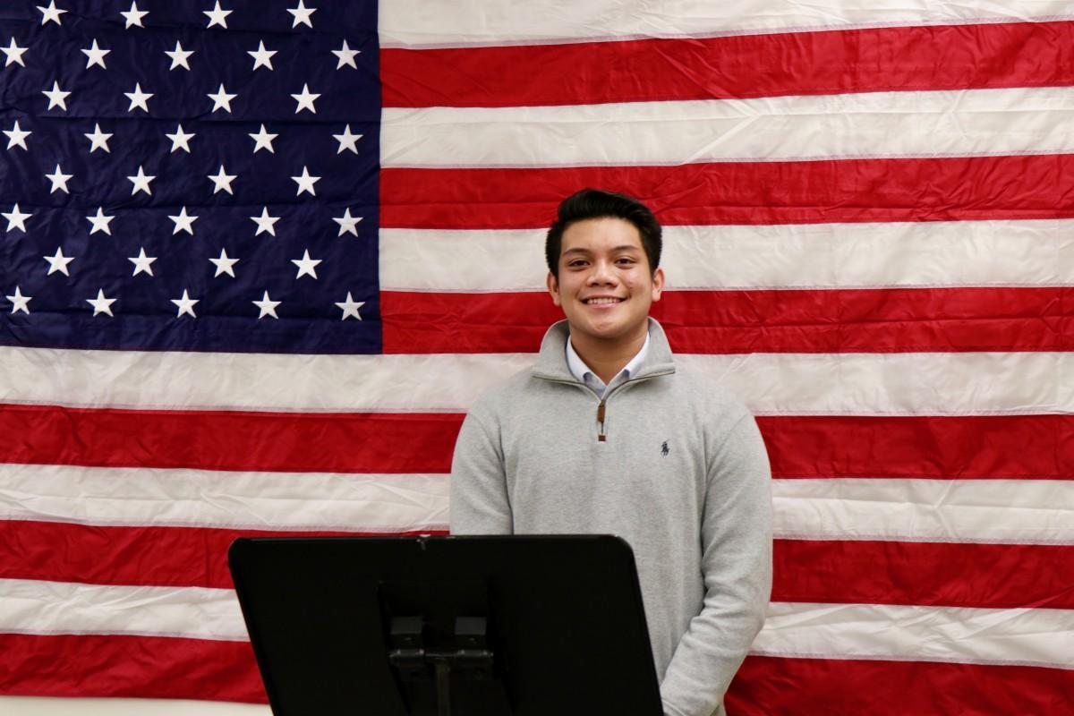 Julius Olitan records his speech for future student-run campaign