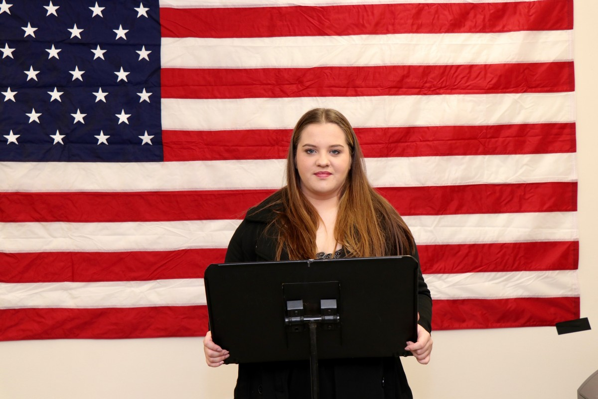 Analiese Ringgenberg records his speech for future student-run campaign