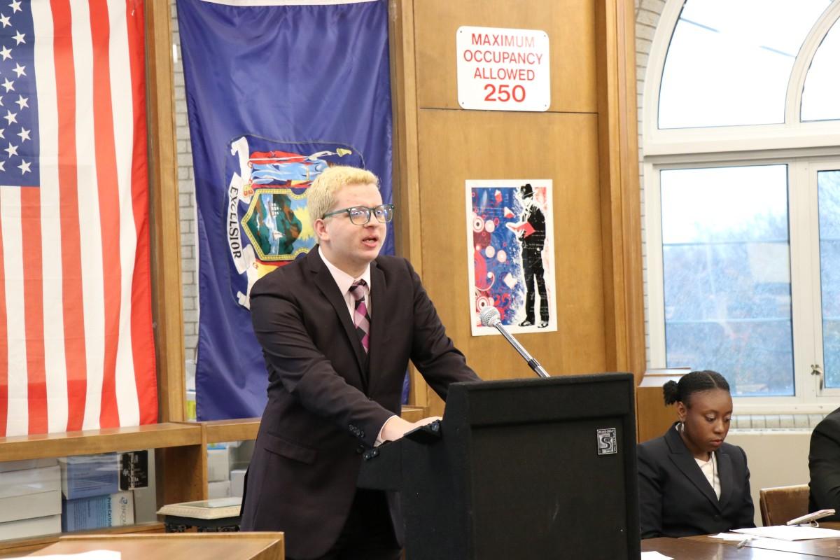 Student giving a speech.