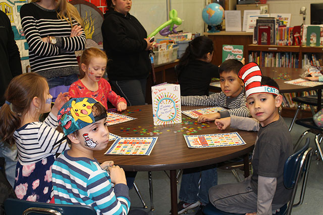 Students participating in activities during Dr. Suess Night 6