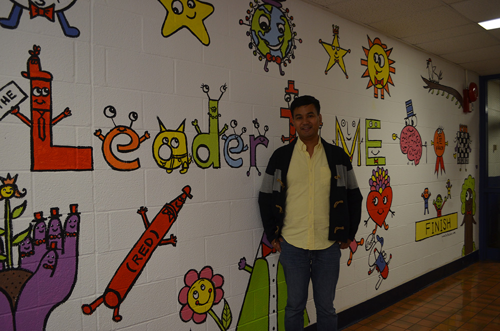 Mural at Fostertown School with the designer
