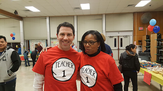 Teachers together at the Dr. Suess Night