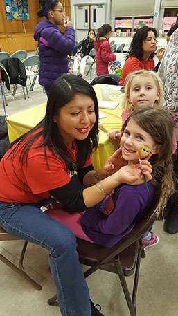 Facepainting at Dr. Suess Night