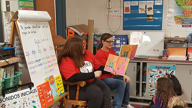 Reading during Dr. Suess Night