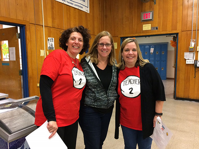 A group of teachers at Dr. Suess Night