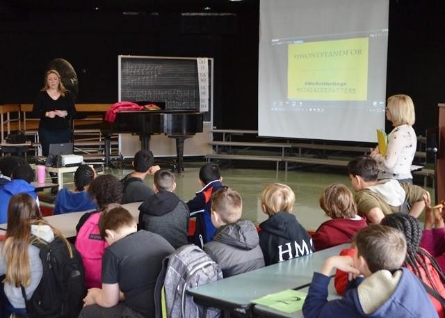 Student listening to presentation