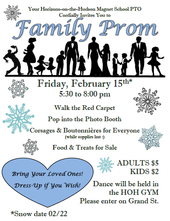 PTO Family Prom Flyer. All information on flyer listed above.