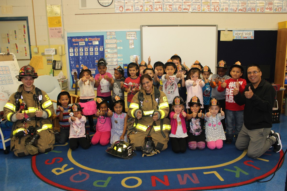 Firefighters and students in the classroom