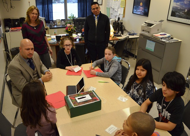 Another picture of Students and Superintendent Padilla discussing topics on interest to the students