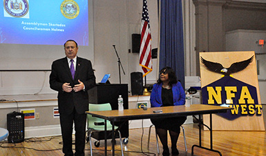 Thumbnail for NFA West Students Hear from Assemblyman and Councilwoman as Part of Weekly Series