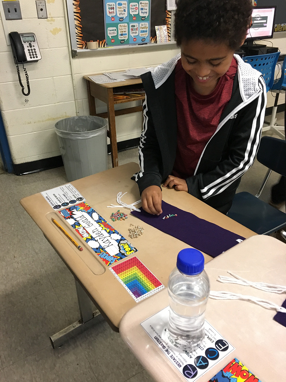 THA 4th Graders work on wampum belts 2