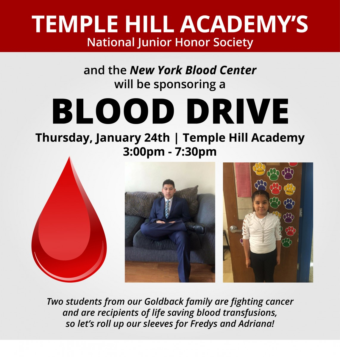 Thumbnail for Temple Hill Academy To Host Blood Drive on January 24th