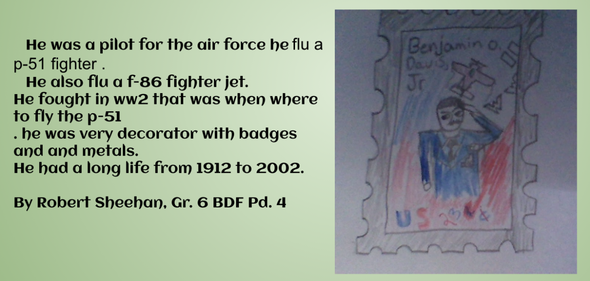 Drawing of stamp with description of the individual chosen by the student.